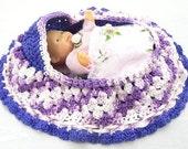 girls fun surprise present cradle baby doll purse girls crochet purse bassinet itty bitty  BG108