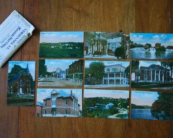 vintage VERGENNES VERMONT- miniature postcard set - color photos -  early 1900's - horse and buggy - souvenir