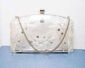 Vintage Lucite Purse Clear Plastic with Rhinestones - Fun Formal Handbag
