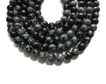 Black Snowflake Obsidian - 6mm Round - Full Strand - 61 beads
