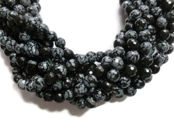 Black Snowflake Obsidian - 8mm Faceted Round Bead - Full Strand - 47 beads - spotted black stone