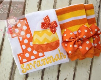 Baby Girl First Birthday Outfit - Sweet Candy Corn - personalized bodysuit and leg warmers in orange and yellow