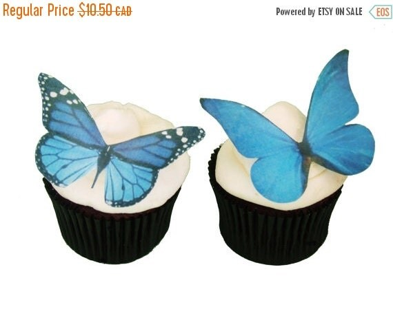 Cake Topper Sale Cupcakes EDIBLE BUTTERFLIES  12 Large Blue - Cupcake Supply, Cake Supply, Cake Decoration, Cupcake Decoration