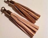 Handmade leather Tassel, keyring, bag charm, Sandy pale peach leather