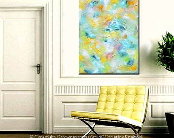 "GICLEE PRINT Art Yellow Aqua Abstract Painting Coastal Canvas Prints Modern Green Blue White Home Wall Decor LARGE size to 60"" -Christine"