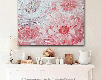 GICLEE PRINTS Art Abstract Pink Peony Painting Flowers Wall Art Home Decor Palette Knife Lavender White Peonies Canvas Print SIZES Christine