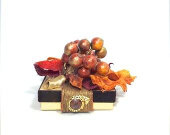Vintage Jewelry Gift Box Autumn Orange Gift Card Holder, Pre-wrapped Gift Box, Wedding Favor, Bridesmaid Gift Tip Box, Elegant,  Rhinestone