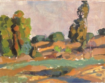 Late summer afternoon - original Plein air landscape painting, egg tempera and charcoal on paper, 38 x 49 cm, 15 x 19.3 inch, Shirley Kanyon