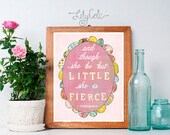 And though she be but Little, she is Fierce, Wall Art, Pink, Blue, Chidren's Girl Room, Wall Decor, Baby Girl Nursery, Print, Art, LilyCole