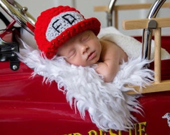 Firefighter Baby Boy or Baby Girl Crochet Hat and Photography Prop Sizes Preemie, Newborn, 0-3 months, 3-6 months