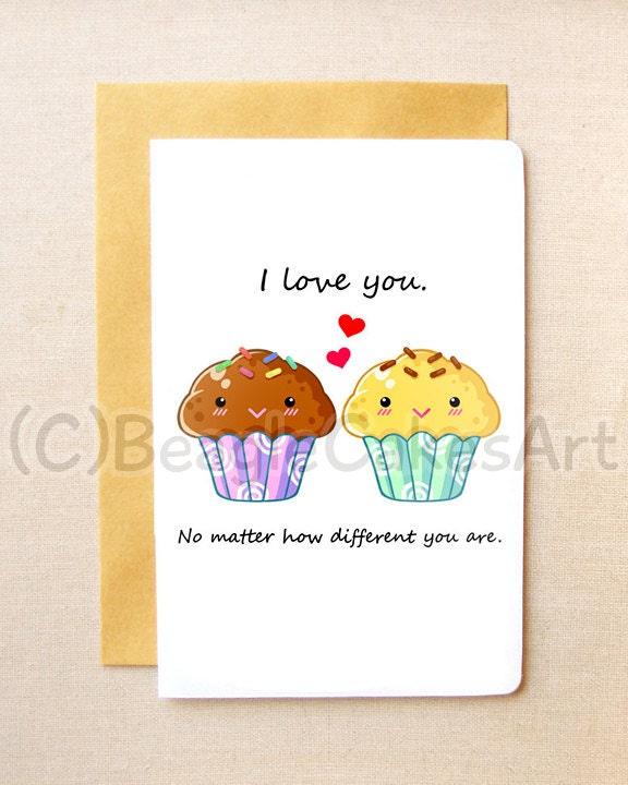 Cute Muffin Card 4x6 Note Card Valentine's Day
