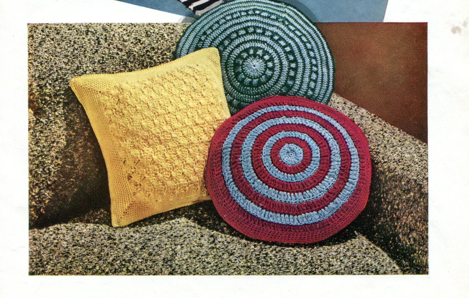 1960 s Vintage Crocheted Mid Century Modern Pillows Pattern Instant Download PDF from ...