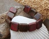 Red Jasper Square Beaded Bracelet