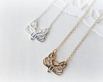 Silver or Gold Petite Fox Necklace