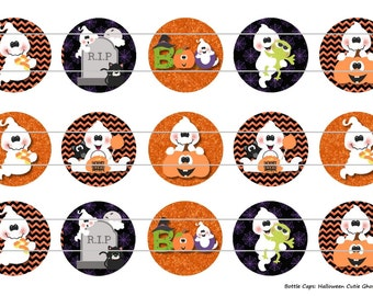 "Halloween Cutie Ghost 1 Digital Download for 1"" Bottle Caps (4x6)"