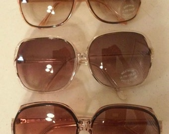 True Vintage Big Squares Boho Sunglasses 1970 Set Of 3
