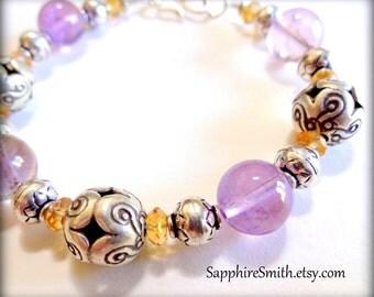 TAKE 28% OFF across the shop! (coupon code THANKYOU) Lavender Purple Fluorite, Honey Citrine Gemstone, Hill Tribe Fine Silver Bracelet
