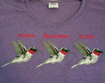 Mom's or Grandmother's Embroidered Tee Shirt - hummingbird or any other favorite item with kids or grandkid's names