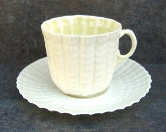 Vintage Belleek Limpet Demitasse Teacup Cup & Saucer, Green Mark 1950s 1960s Tea Party, Bridal Shower