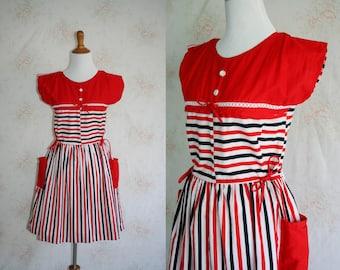 Vintage 60s Sundress, 1960s Striped Dress, Bow, Sleeveless, Pockets