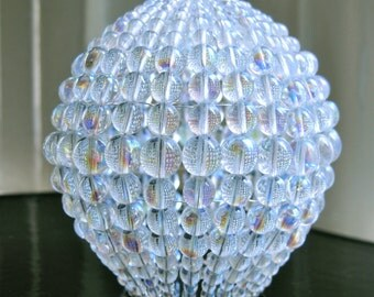 Large Pressed Iridescent Glass Beaded Bulb Cover, Pendant Lamp Shade, Ceiling Light Shade, Beaded Lamp Shade For Standard Light Bulbs