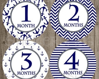 Monthly Baby Boy Milestone Stickers Navy Anchor Anchors Nautical Chevron Baby Shower Gift PRECUT Bodysuit Baby Stickers Baby Months