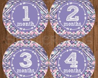 Baby Girl Monthly Stickers Precut Tribal Aztec Arrows Lilac Pink Blue Milestone Bodysuit Baby Month Stickers Photo Prop Nursery Decor