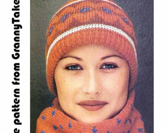 1970s SKI HAT & SCARF Vintage Knit Pattern, Beanie/Cloche + Muffler, Retro, Folk, Fairisle, Striped, Instant Pdf from GrannyTakesATrip 0313