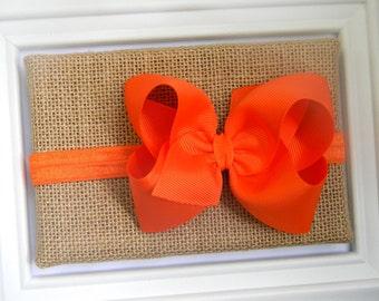 Orange Bow Headband - Orange Boutique Bow Headband
