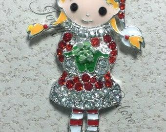 Christmas Girl with snowflake Rhinestone Pendant