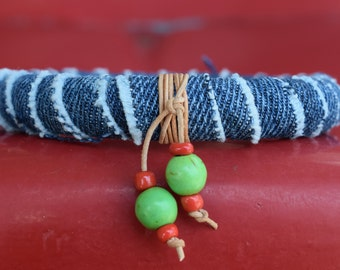 Bracelet - Bangle - Denim Covered Wood with Leather and Glass Bead Accents