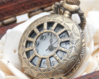 1pcs Antique Bronze   Small Wheel flower pocket  Watch Charms Pendant with chain ty140698