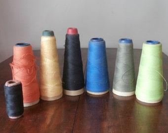 6 Cones Large Spools Vintage Thread