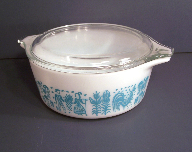 pyrex butterprint casserole dish lid turquoise. Black Bedroom Furniture Sets. Home Design Ideas