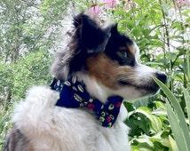 Oriental Blue Hexagon Flower Bow Tie Dog Collar