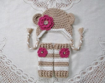 Tan Monkey Crocheted Hat & Legwarmer Set - Available in Newborn to Toddler Size - Any Color Combination