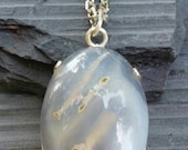 AMAZING MOSS AGATE With Unique patern Sterling Silver Pendant