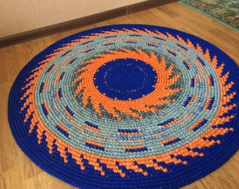Hand Crochet multicolor Rug with expressive patterns , 40 inches in diameter