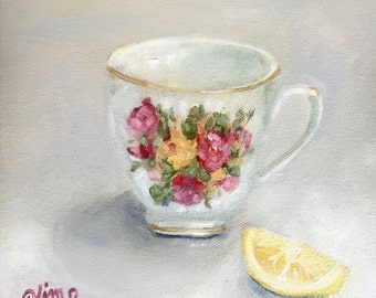 Teacup painting, vintage, original painting, canvas, kitchen art, lemon, square