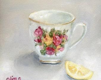 Teacup painting, vintage, original painting, canvas, kitchen art, lemon, square