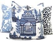 Nanjing Schumacher Decorative Pillow Cover Square, Eurosham or Lumbar pillow Accent Pillow, Throw Pillow, Toss Pillow, Chinoiserie Pillow
