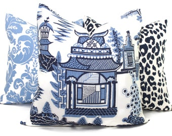 Nanjing Schumacher Decorative Pillow Cover Square, Eurosham or Lumbar pillow Accent Pillow, Throw Pillow, Toss Pillow, Chinoiserie Pillow