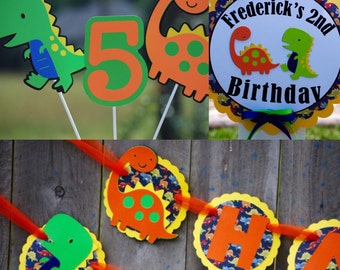 Dinosaur Yellow, Green and Orange Birthday Party Package /Dinosaur Theme/ Dino Party Pack