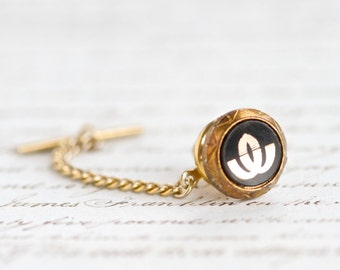 Vintage Tie pin - Black and Gold - Glass on Brass