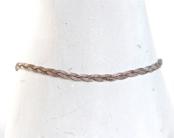 Dark Sterling Silver Bracelet - Oxidized Rope - Vintage Jewelry