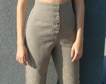 High waist button front pants
