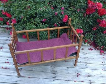 Vintage Doll Cradle Crib Wood Baby Doll Cradle