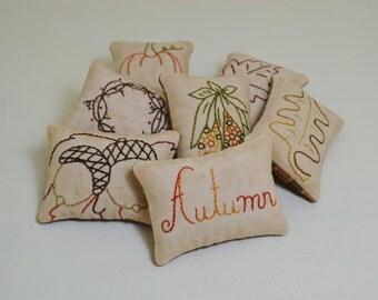Autumn Decorative Pillows - Fall Leaves Bowl Fillers - Primitive Pumpkin Tucks - Acorns - Bittersweet Wreath - Indian Corn - Orange Plaid