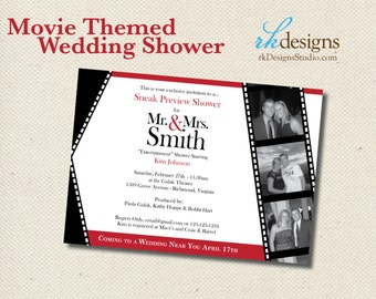 Movie Themed Wedding Shower Invitation - DIGITAL FILE - Entertainment Theme Bridal or Couples Shower