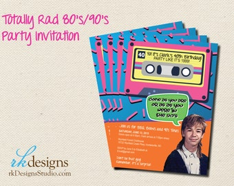 80's Party Invitation or 90's Party Invitation - Saved by the Bell  - Printed with Envelope
